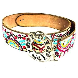 Lucky Brand Embroidered Belt Leather Multicolored
